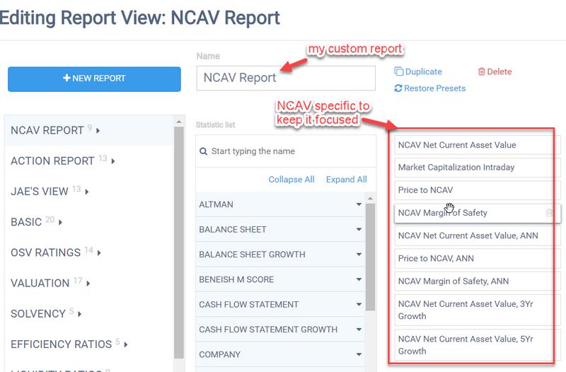 NCAV custom report