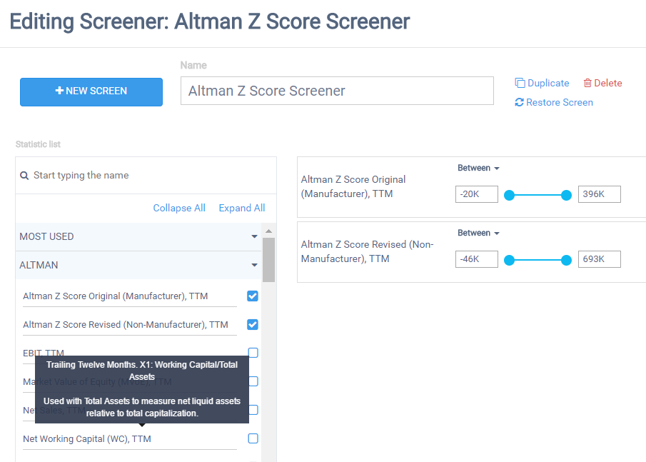 Create Your Own Altman Z Screener