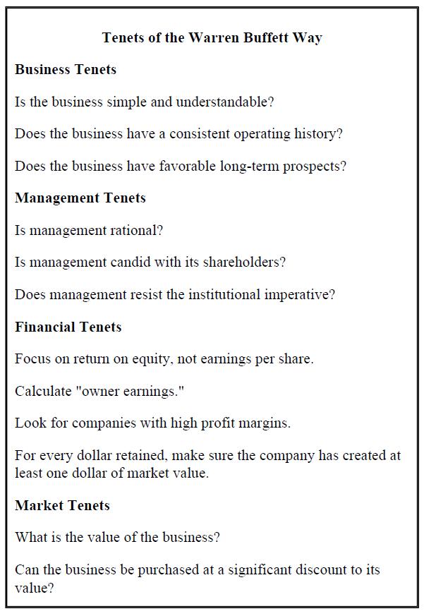 tenets of warren buffett