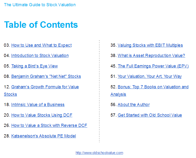 Valuation Ebook TOC
